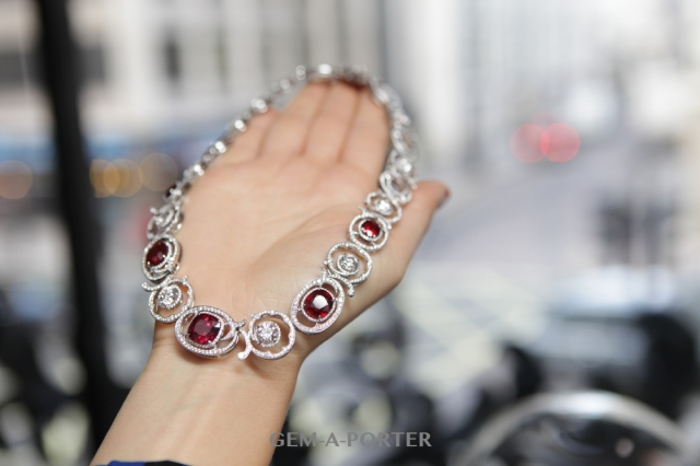 Ruby Vintage Lace necklace: 20.99 carats of rubies in a vintage lace, platinum setting and surrounded by a further 10.77 carats of white diamonds.